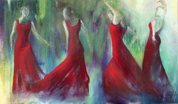 maleri af 4 kvinder i røde kjoler - bredformat