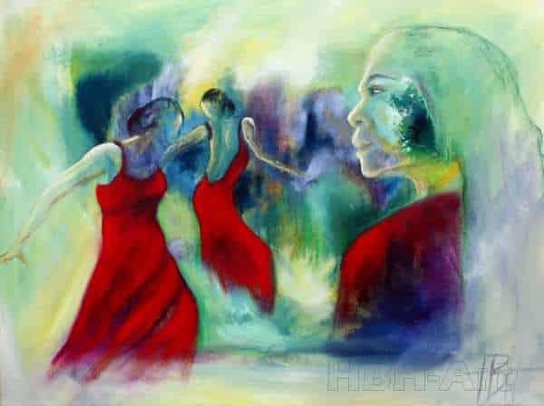 Oliemaleri af flamencodansere i fantasilandskab