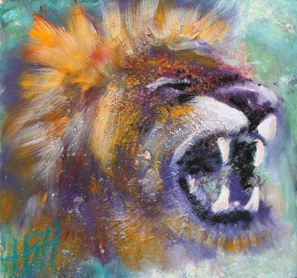 Lille maleri af brølende løve på blå baggrund