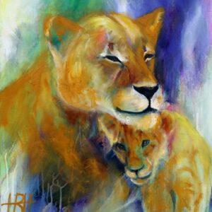 Maleri af løve med unge i gyldne farver på grøn og blå baggrund