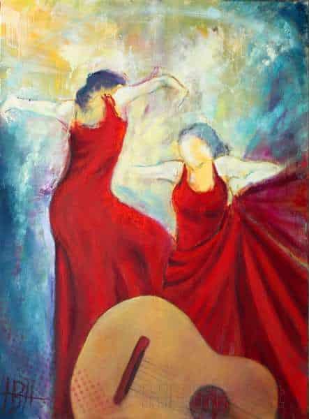 oliemaleri med musik, flamencodansere og sjæl. Der er en guitar i forgrunden, og kvinderne danser bag ved den