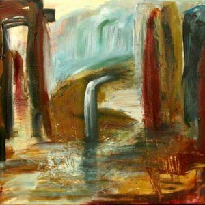 Maleri af fantasilandskab med vand og bjerge