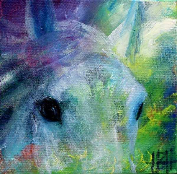 Maleri af hestens øjne.