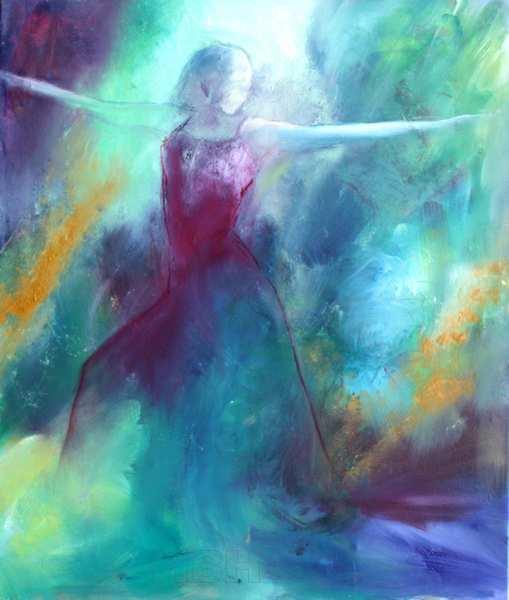 abstrakt maleri i blå farver med kvinde