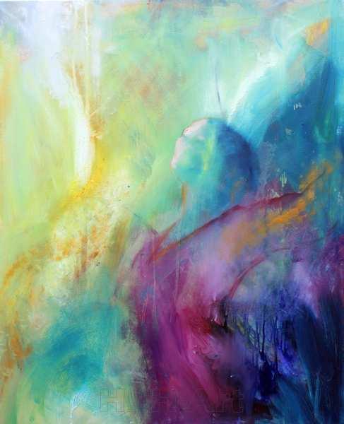abstrakt maleri af kvinde, der vender ansigtet mod lyset og rækker armene opad