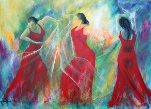 olie maleri af dansende kvinder og lys. De er i rødekjoler og har spindelvævstynde gennemsigtige sjaler