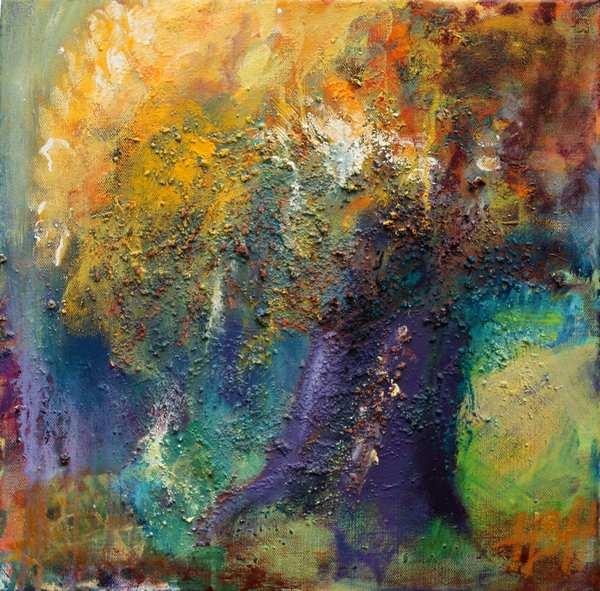 maleri i varme farver af et efterårstræ.
