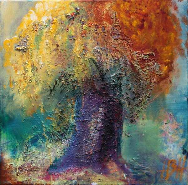 Maleri af efterårstræ med violet stamme. Masser af struktur og farve