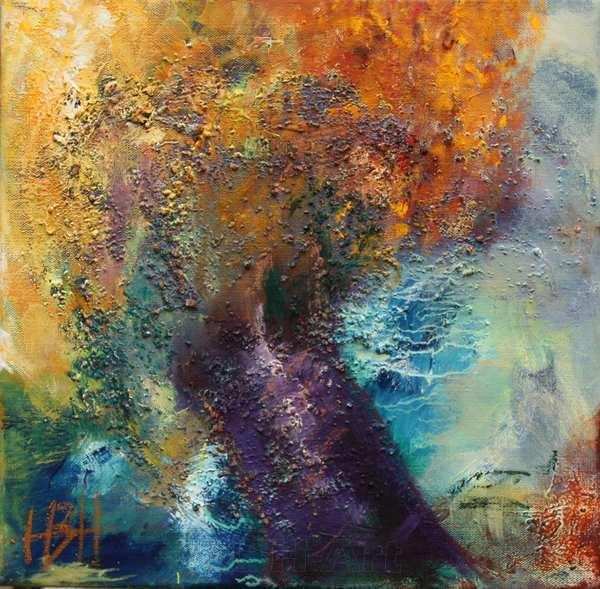 Maleri af et stærkt farverigt efterårstræ med blåviolet stamme. Den blå himmel danner kontrast til trækronens gyldne orange