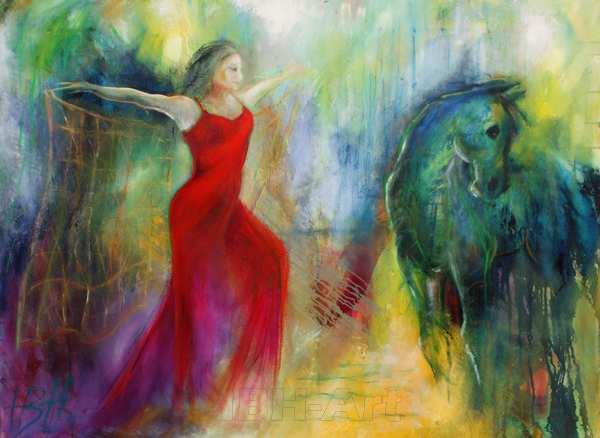 maleri af danser med sjal - eller net og hest, der kigger væk