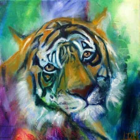 Farverigt maleri af Totemdyr - Tiger, der kigger direkte på dig
