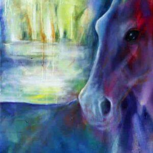 hestemalerier i blå og gule farver. Hesten er i forgrunden. i baggrunden fantasilandskab med en sø