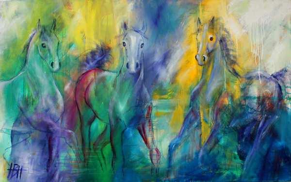 Hestemaleri med mange farver