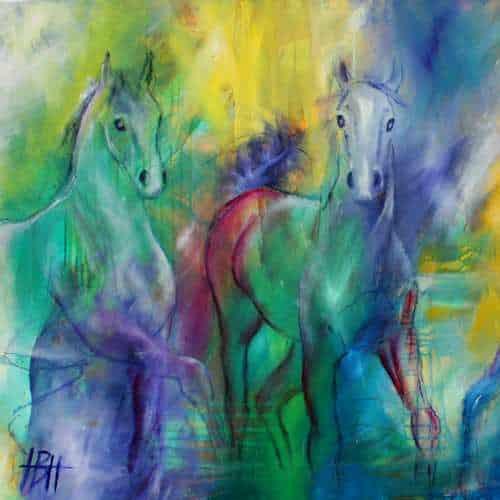 kunstkort 15 X 15 cm med print af udsnit af maleri af heste i mange farver