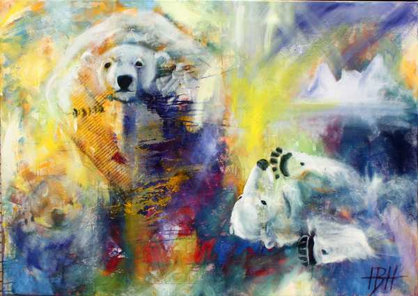 Maleriaf isbjørne på en farverig baggrund