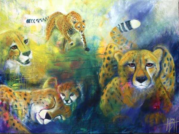 Maleri af geparder. Den ene er geparden Sara.