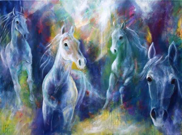 maleri af heste i blå farver med fire heste, der kommer løbende ud fra maleriet