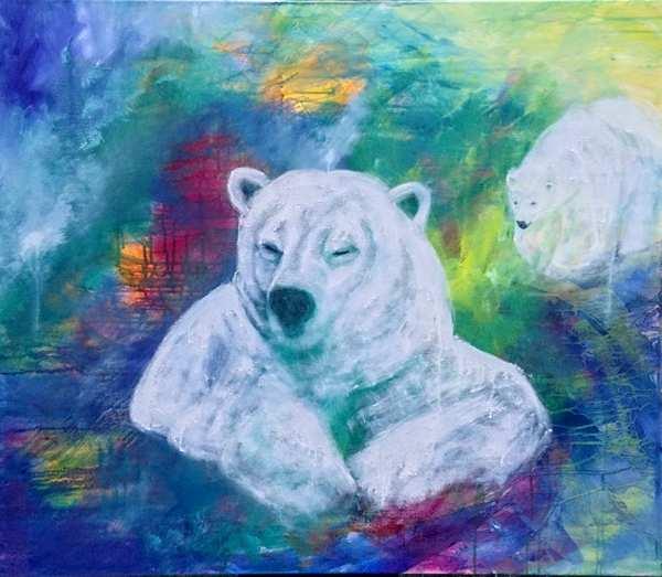 Maleri af to isbjørne med en abstrakt baggrund i blå farver
