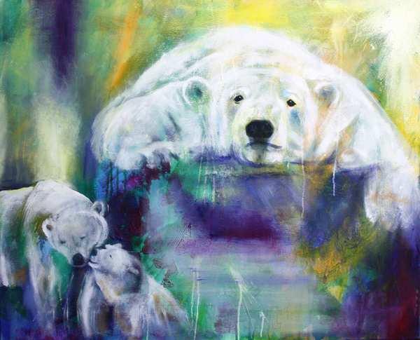 Isbjørne maleri af tre isbjørne på blåviolet og gullig baggrund