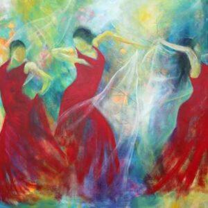 købe kunst - maleri med lys og dansende kvinder med sjal