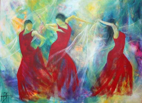 Maleri er farve på en malegrund. Her er det med et motiv af flamencodansere og lys
