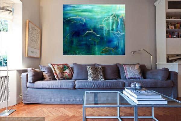 Maleri af delfiner i stuen