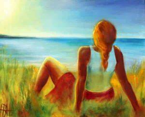 bestillingsmalerier - en kvinde der sidder ved stranden og kigger ud over vandet