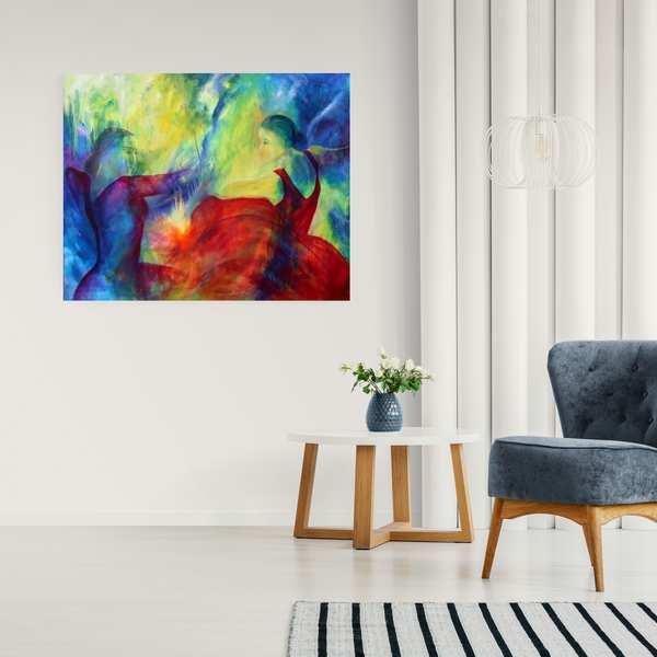 Stort maleri af to flamencodansere på væggen i stuen