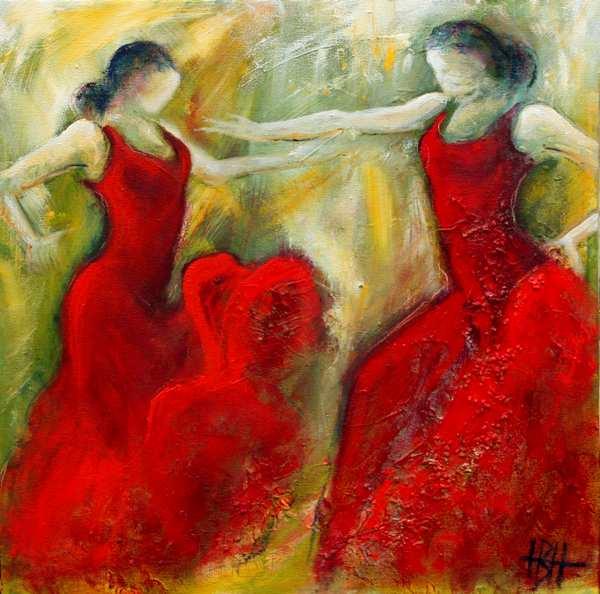 Maleri af to flamencodansere over for hinanden