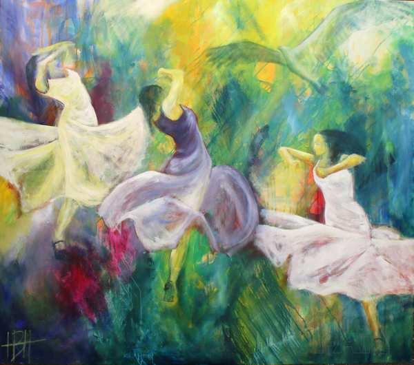 Malerier af dansere, der svinger sig gennem maleriet. To af dem i hvide kjoler og en i lys violet. Over dem svæver en ørn