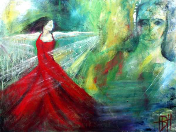 maleri af dansende kvinde med sjal og et kvindeansigt.