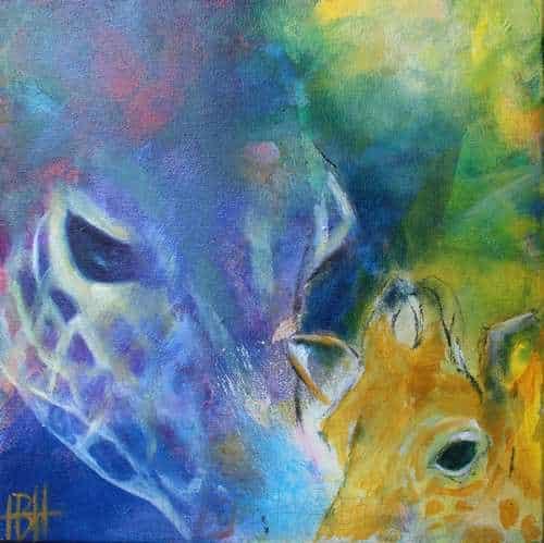 Lille maleri af blå giraf med unge. Malet i olie på lærred