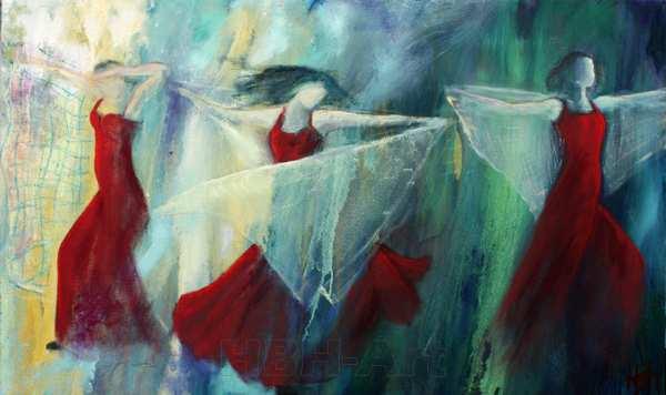 maleri af tre flamencodansere med sjal og mørkerøde kjoler