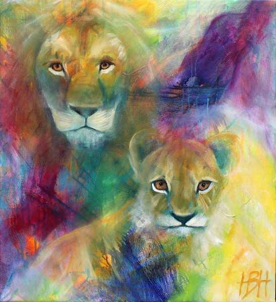 Maleri af løve og unge på farverig baggrund