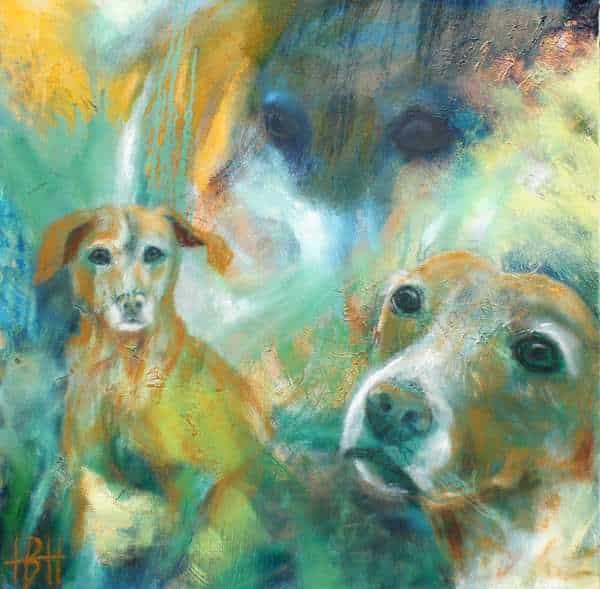 Portræt af grækerhunden Mille malet i olie på en farverig baggrund