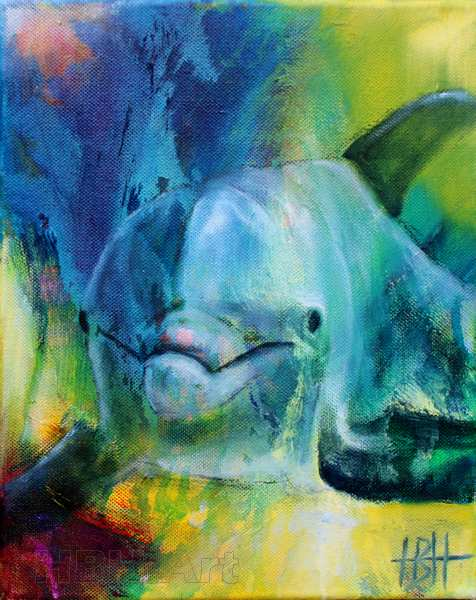 Maleri af delfin, der kigger direkte på dig.