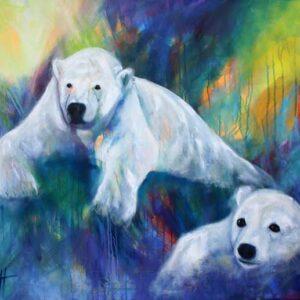 Maleri af isbjørne i kølige farver. Men varmen lurer lige bagved