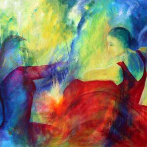 Stort maleri af flamencodansere med front mod hinanden