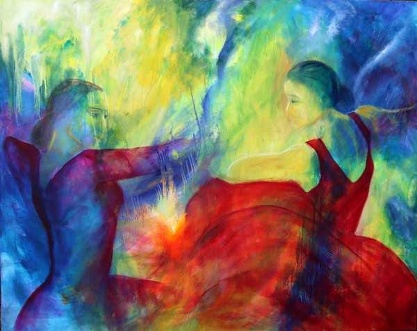Stort maleri af dansere med front mod hinanden