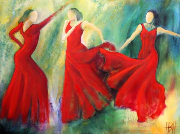 Maleri af tre røde dansere på farverig baggrund