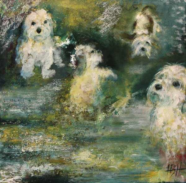 oliemaleri af hunden Molly med fire forskellige udtryk