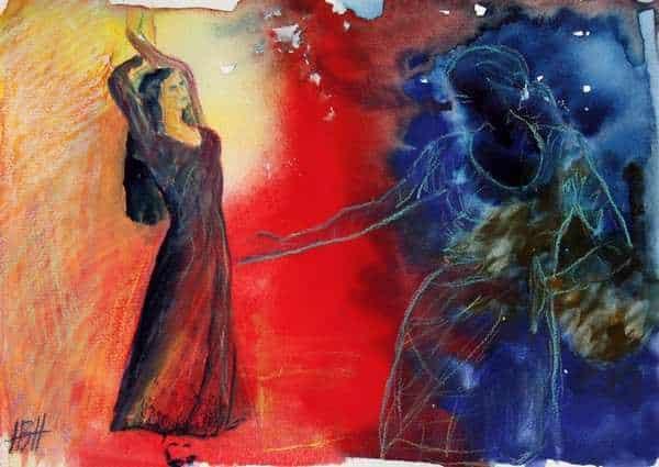 akvarel i blå og røde farver af to flamencodansere