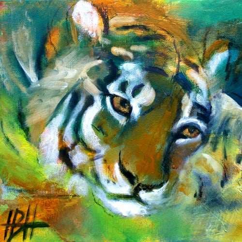 Lille maleri af liggende tiger med hovedet på poterne. Malet i olie på lærred