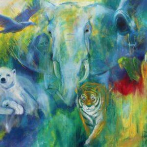 maleri af vilde dyr - elefant, isbjørn, tiger, papegøjer, ørn og en kvinde