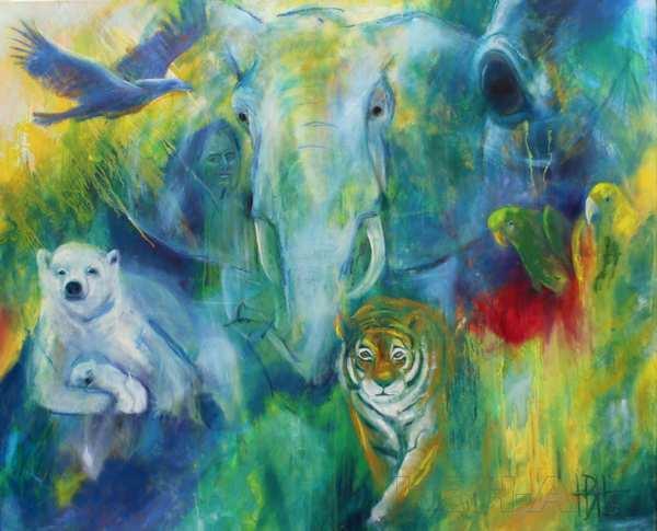 maleri af dyr - elefant, isbjørn, tiger, papegøjer, ørn og en kvinde