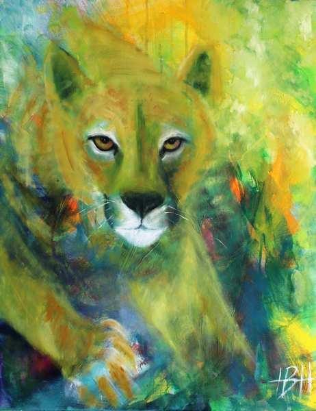 maleri af puma der følger dig med øjnene