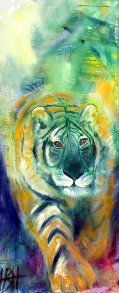 Smalt maleri af tiger der kommer gående