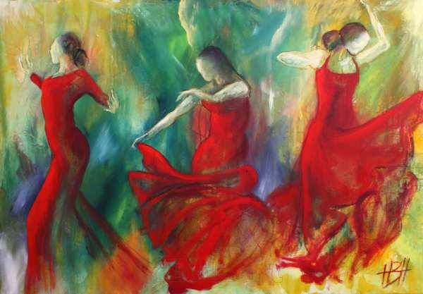 Flamenco dansemaleri med tre dansere i røde kjoer