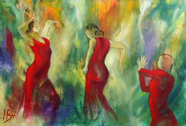 oliemaleri af røde dansere med bevægelse mod en farverig baggrund