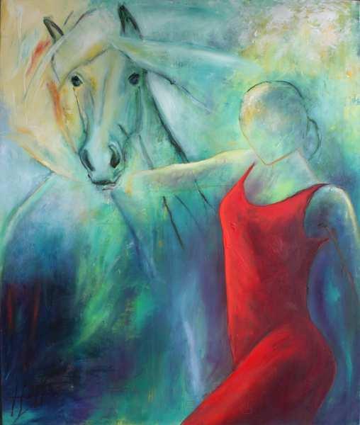 oliemaleri af kvinde i rød kjole og hest på blå-grøn baggrund